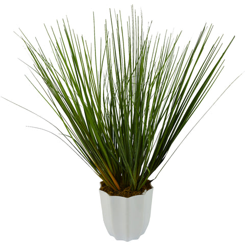 Artificial Green Grass Plant with Round White Pot