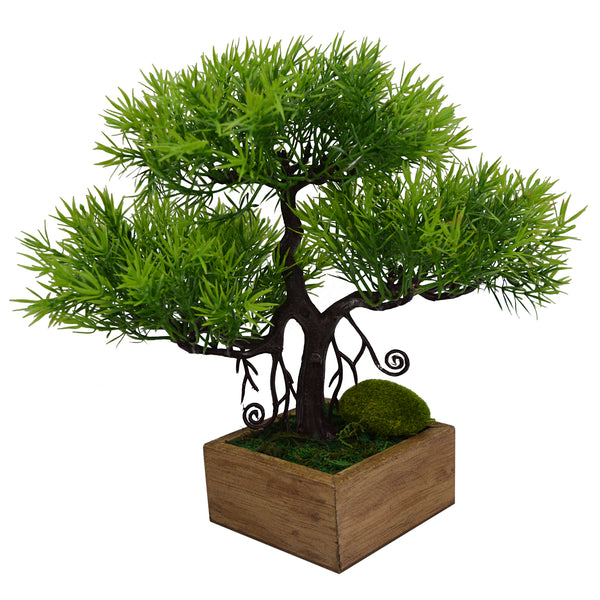 Artificial Plant Tropical Bonsai in square Wood pot