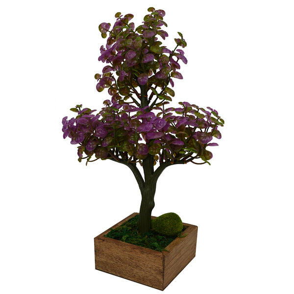 Artificial Plant Hackleberry Bonsai in square wood pot
