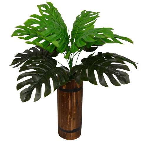 Artificial Plant Cut Leaves in long Wood pot