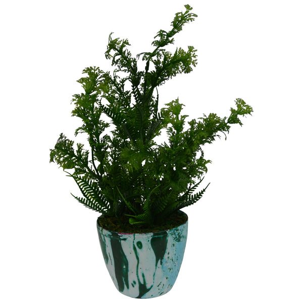 Artificial Plant Corriender in Round Marble Finish pot
