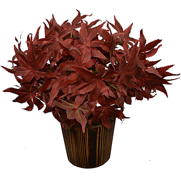 Artificial plant Mapple Bunch (30 cm/ 12 inchs) in Wood round pot