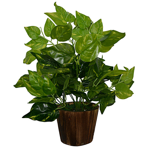 Artificial Money plant (33 cm/ 13 inchs) in Wood round big pot