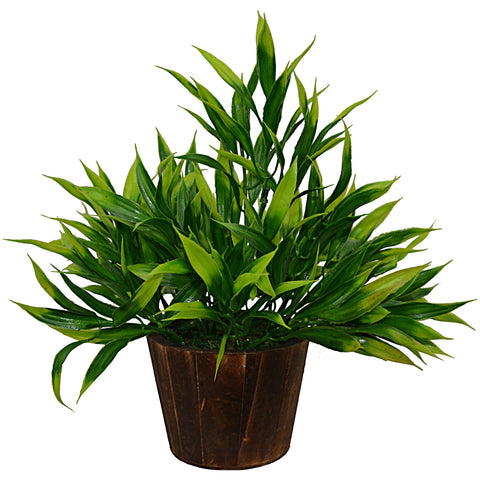 Artificial Plant Bamboo (26 cm/ 10 inchs) in Wood round small pot