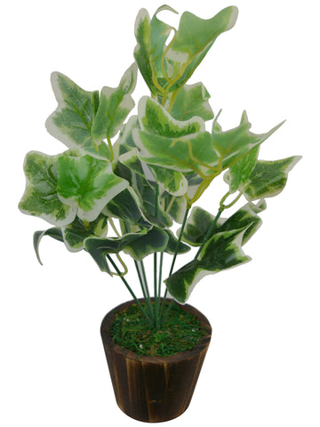 Artificial Green Plant bunch (33 cm/ 13 inchs) in Wood round small pot