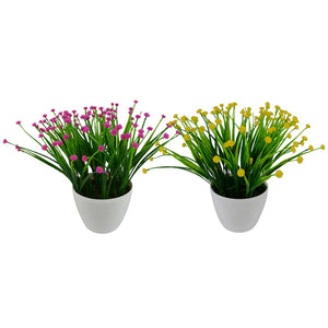 Artificial Grass Flowers Bush Plant with Round White Pot (8 inches/20 cm) -Set of 2