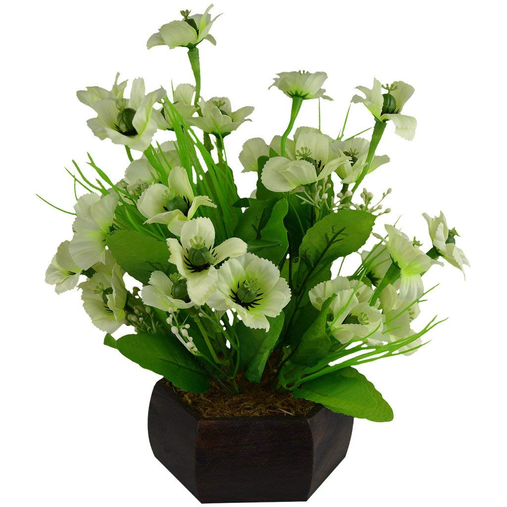 Artificial Japanese Sakura Flowers Arrangement with Hexagun Wood Pot (Height : 28 cm)