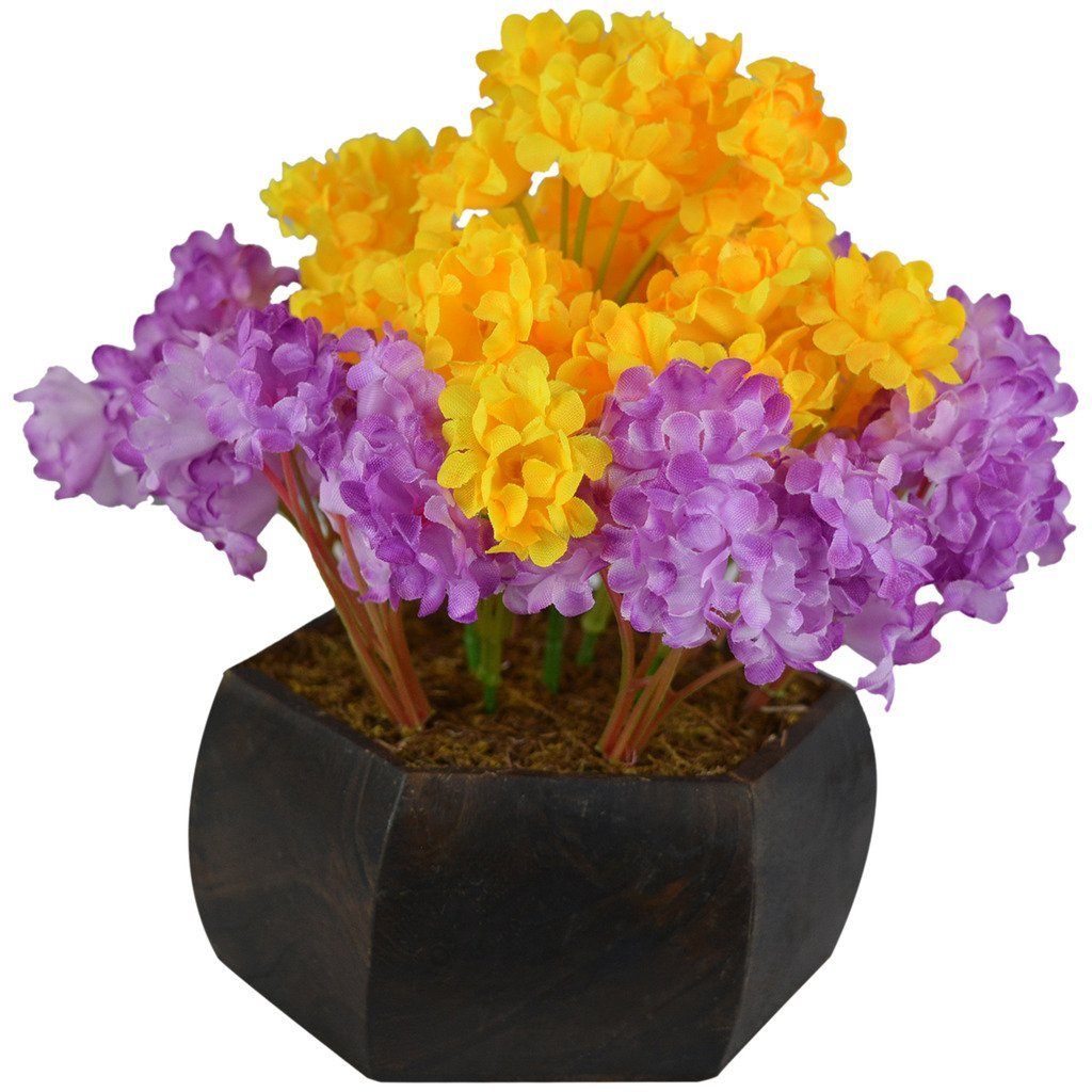 Artificial Table Top Wild Flowers Arrangement with Hexagun Wood Pot (Height : 18 cm)