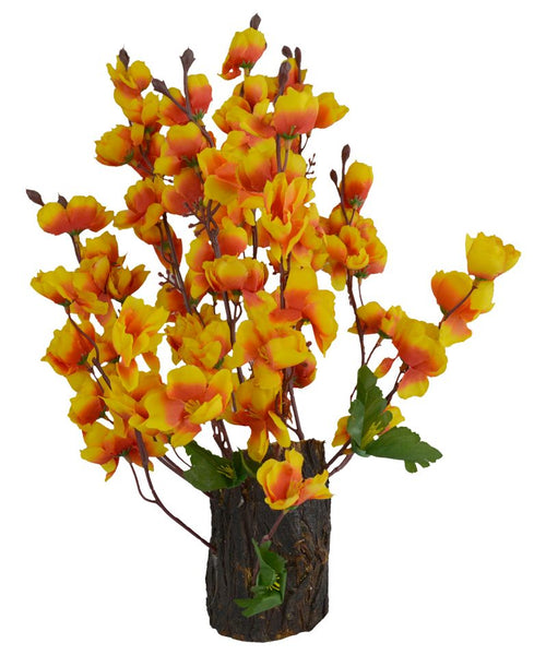 Artificial Flower Blossom Arrangement in Natural Wood (Height : 30 cm)