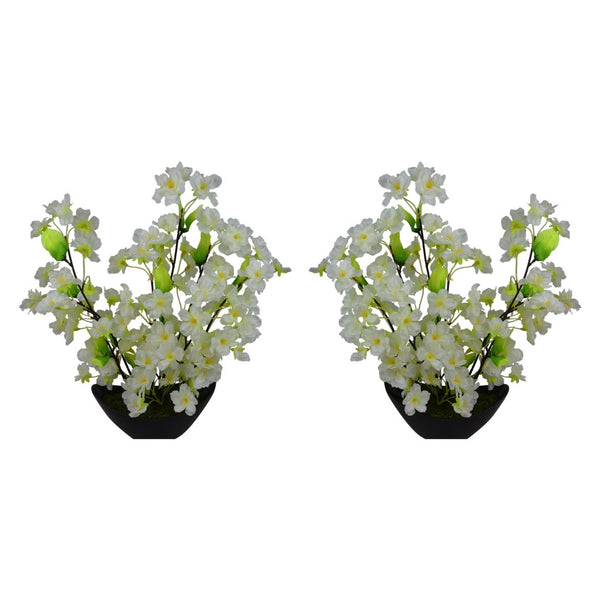 Artificial Floro Blossom Flowers 35 cms with Boat Shape Pot