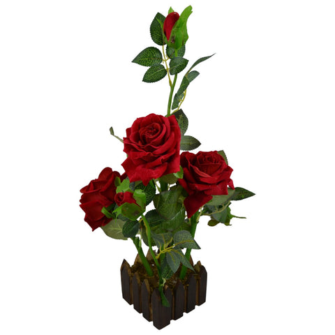 Artificial Rose Flower Plant Prototype with Wood Pot