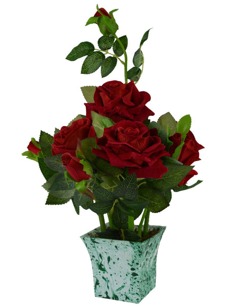 Real Look Artificial Rose Flower Plant 5 Flower & 5 Buds Head with Wood Pot