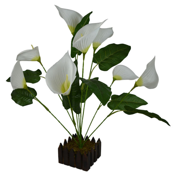 Artificial Flower Anthurium Plant with Wood Pot ( Height - 40 cms)
