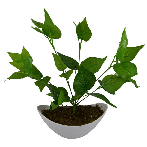 Artificial Green Leaves Plant with Boat Shape PVC White Pot