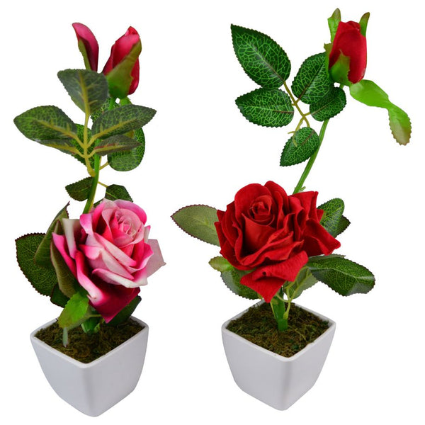 Artificial Rose Plants with Pot (Set of 2)