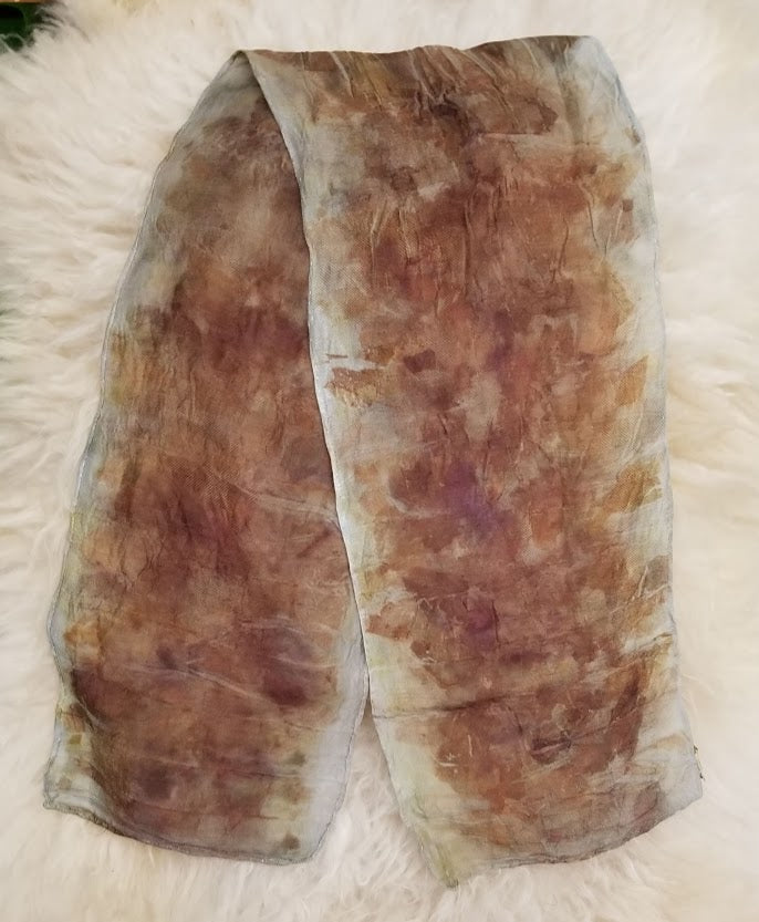 One of a Kind Wool/Silk Natural Dyed Ecoprint Scarf