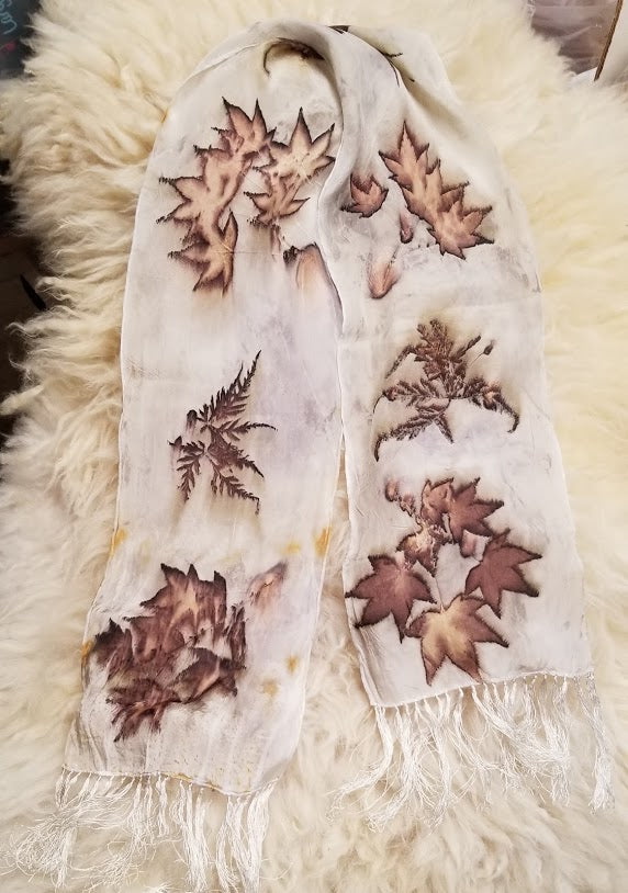 One of a Kind Silk Natural Dyed Ecoprint Scarf