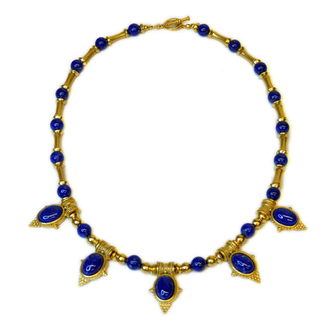 Egyptian Revival Lapis Necklace