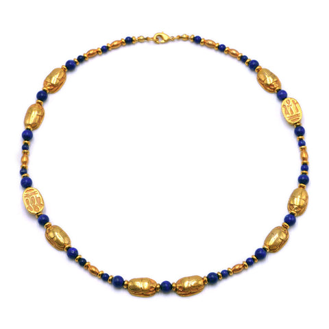 Lapis and Gold Scarab Necklace