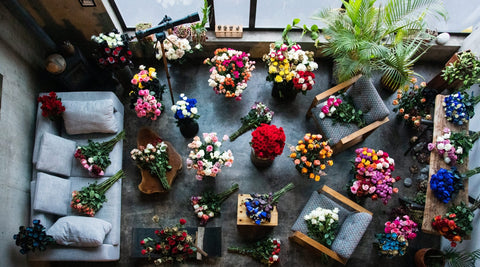 A birds eye view of all of our bouquets
