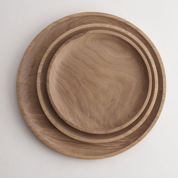 Solid Oak Wooden Plates