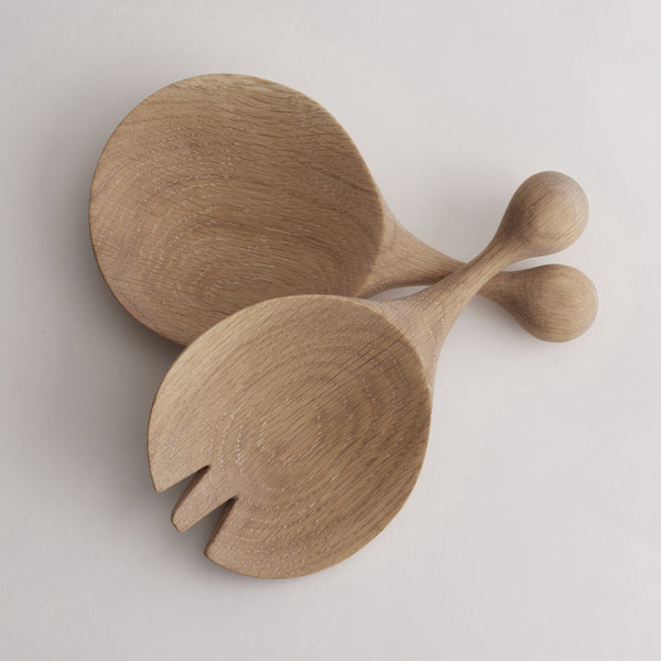 SOLID OAK SALAD SERVERS