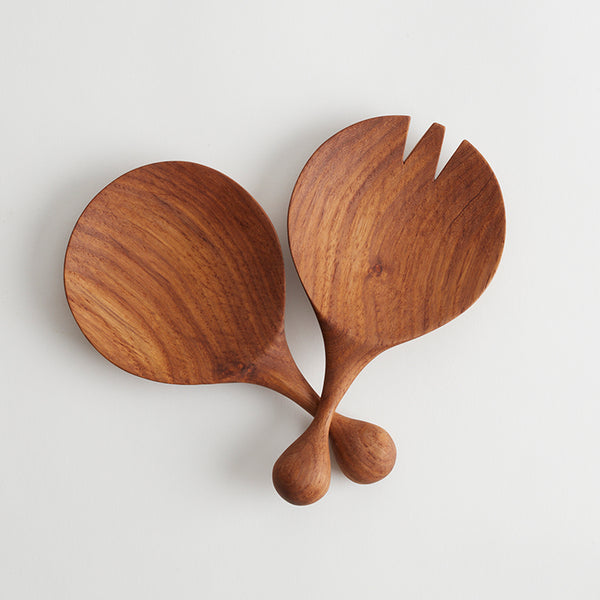 Solid Kiaat Wooden Salad Servers