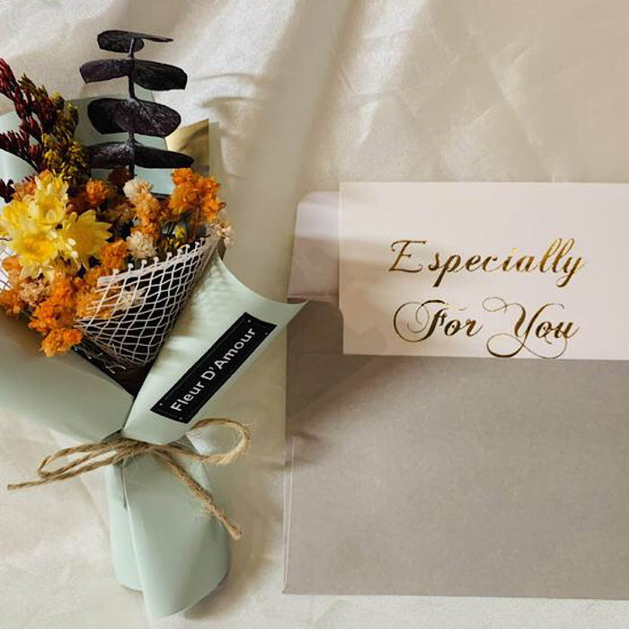 Dried Flowers gift with Card.