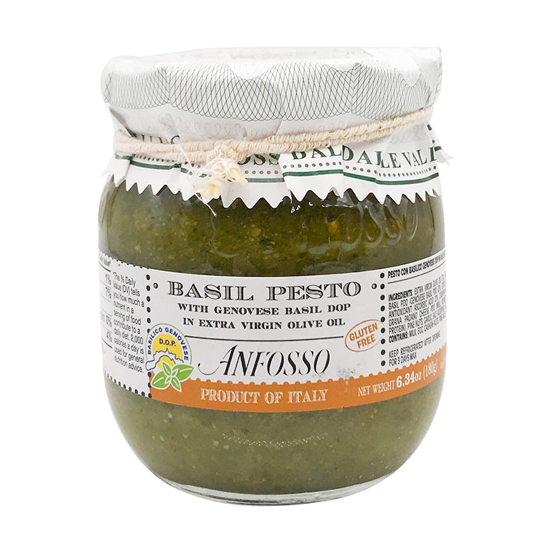 Anfosso Basil Pesto with Genovese Basil D.O.P in Extra Virgin Olive Oil 6.43 oz