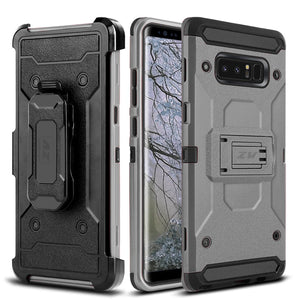 ZV Tough Armor Holster Galaxy Note 8 Case - Metal Gray