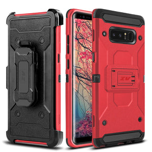 ZV Tough Armor Holster Galaxy Note 8 Case - Red