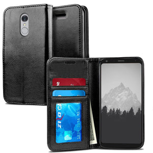 Book-Style Leather Wallet LG Q7 / Q7+ Plus Case - Black