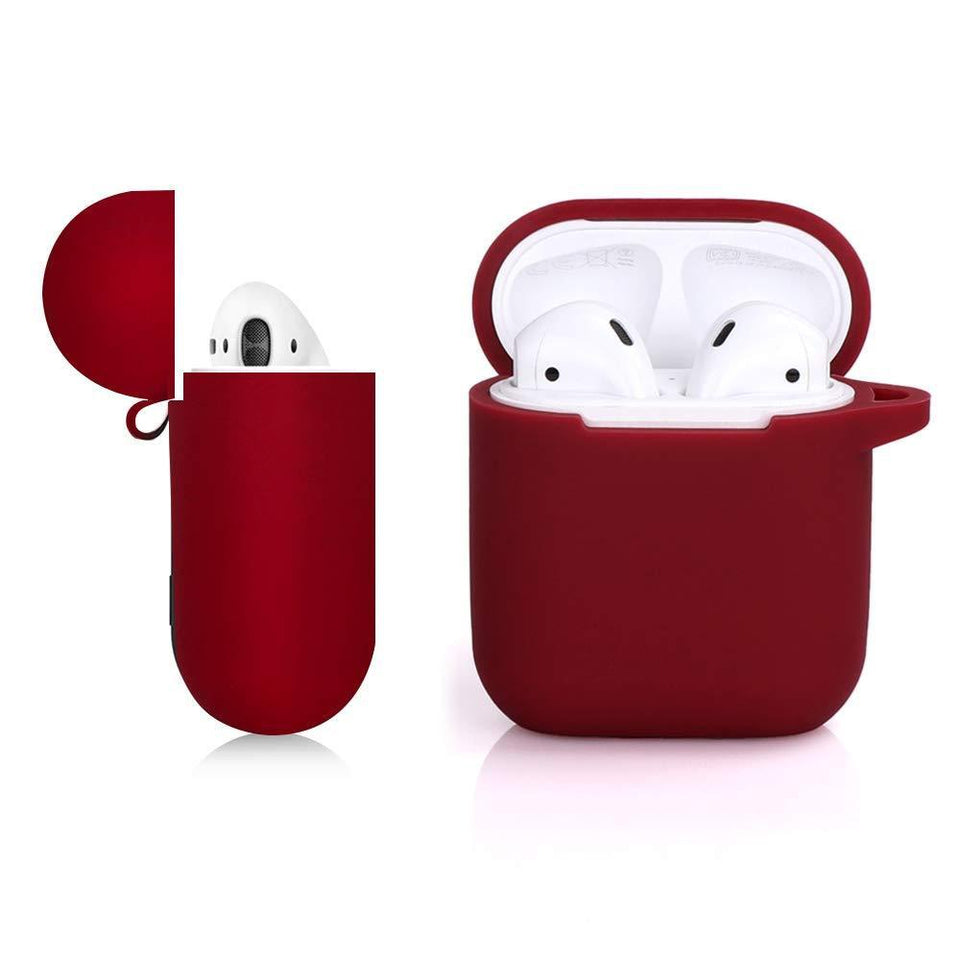 Soft Silicone Cover for Apple AirPods 1 & 2 Charging Case - Burgundy