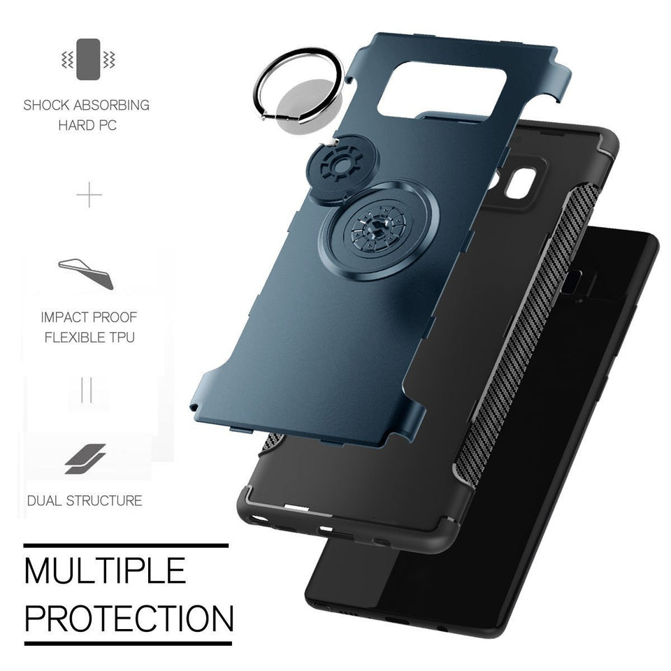 MPC Ring-stand Hybrid Carbon Armor Galaxy Note 8 Case - Navy