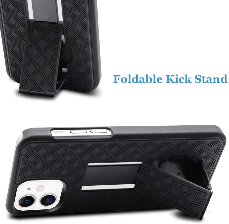 Slim Shell Rugged iPhone 12 / 12 Pro Case Belt Clip Holster OEM