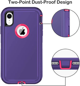 Heavy Duty Total Defender iPhone XR Case Holster - Purple