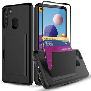Card-A-Way Slim Wallet Galaxy A21 (2020) Case w/ Tempered Glass - Black