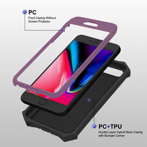 Dual Armor Full Body Hybrid iPhone 7 Plus / 8 Plus Case - Deep Purple