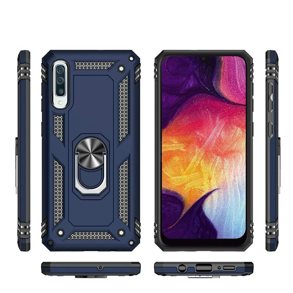 Metal Plate Ring Stand Galaxy A50 (2019) Case - Blue