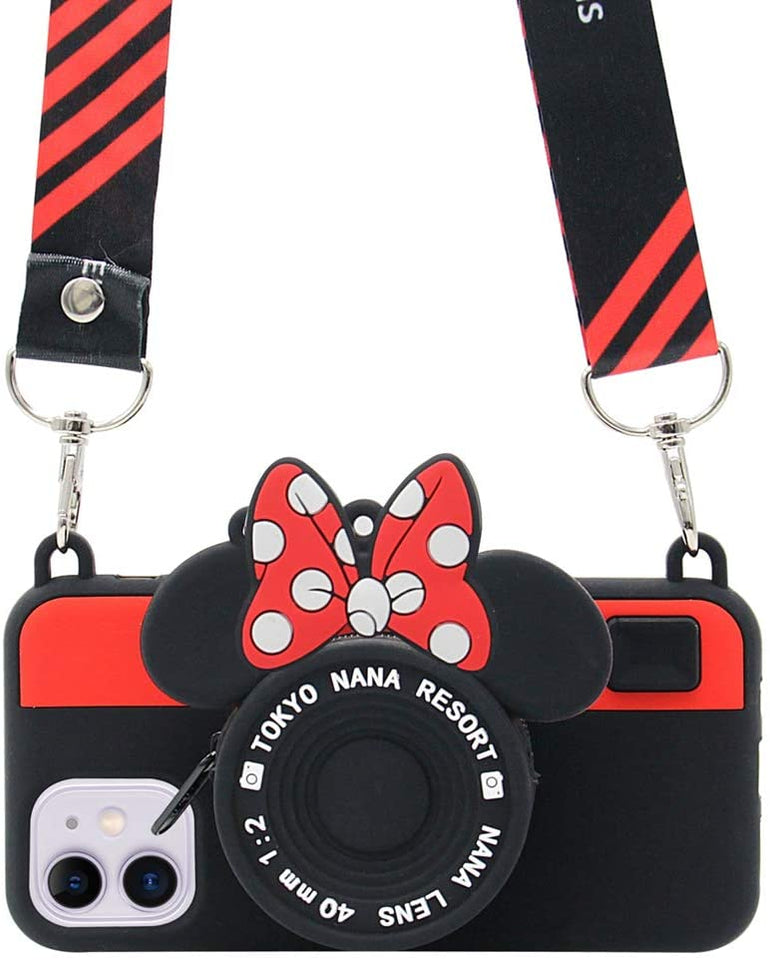 MPC 3D Silicone Cartoon Minnie's Camera iPhone 11 Case w/ Lanyard