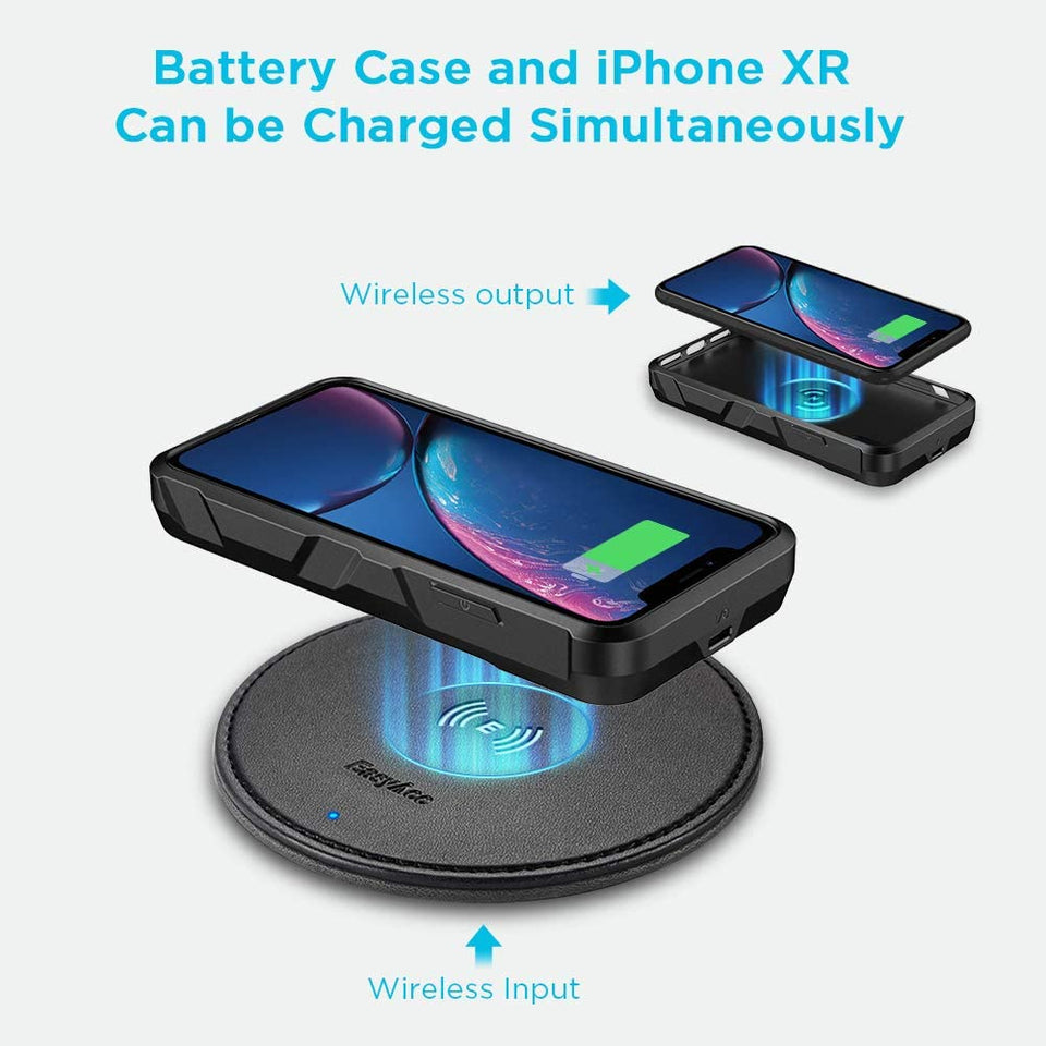 iPhone XR Extended Battery Qi Wireless Charging Rugged Shell Case 5000mAh
