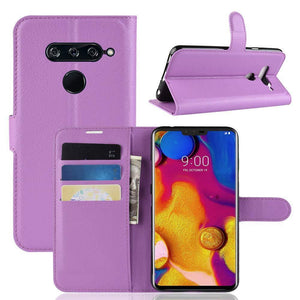Essential Leather Wallet LG V40 ThinQ Case - Purple