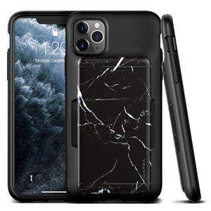 VRS Design Damda Glide Shield iPhone 11 Pro Max Wallet Case - Black Marble