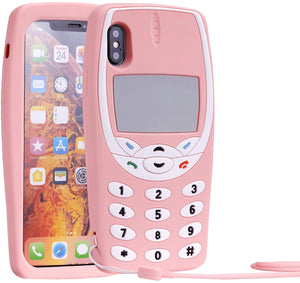 RETRO 3D iPhone X / XS Case - Soft Pink Classic Wireless Phone