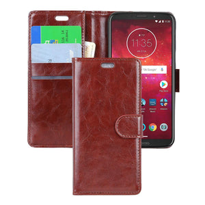 MPC Folio PU Leather Wallet Motorola moto z3 Case - Brown