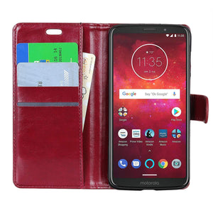 MPC Folio PU Leather Wallet Motorola moto z3 Case - WineRed
