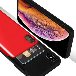 Goospery Sliding Card Wallet iPhone Xs Max Case - Red/Black