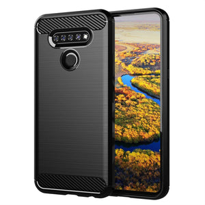 Rugged Shield Slim Armor LG K51 Case - Brushed Black/Carbon