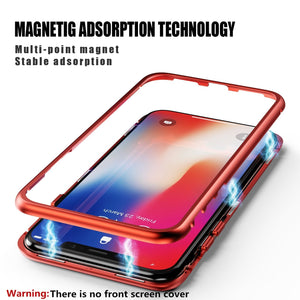 Magnetic Metal Frame Tempered Glass iPhone X/XS Case - Red