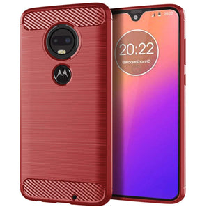 Slim Carbon Protector Motorola Moto G7 Play Case - Red
